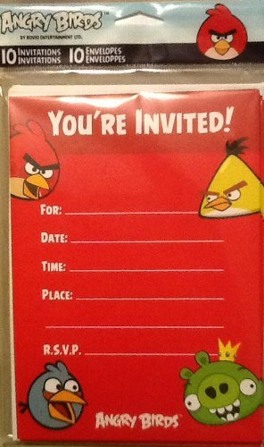 American Greetings Angry Birds Party Invitations 10 Pack (Birds Invitations Angry Party)