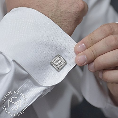 Men's Sterling Silver .925 Square Cufflinks with Channel-Set Baguette and Princess-Cut Cubic Zirconia Stones, Platinum Plated. 18.5 mm. By Sterling Manufacturers by Sterling Manufacturers (Image #2)