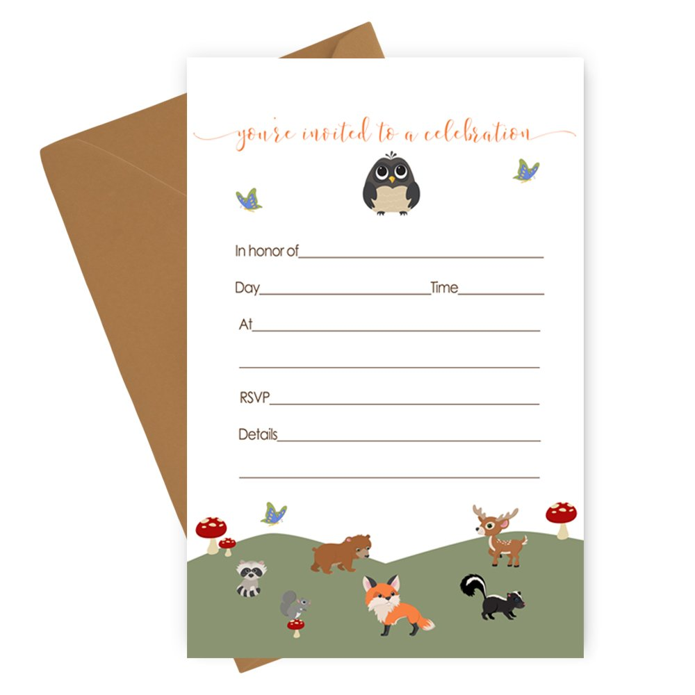 Woodland Invitations with Envelopes Set of 15