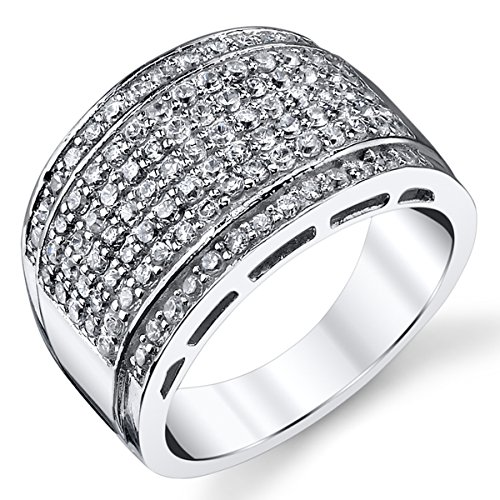 Sterling Silver Men's High Polish Micro Pave Wedding Band Ring With Cubic Zirconia CZ Size 10