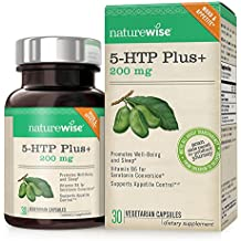NatureWise 5-HTP Max Potency 200mg | Mood Support, Natural Sleep Aid & Helps Curb Appetite | Delayed Release Capsules Easier on the Stomach | Enhanced with Vitamin B6 | Non-GMO, Vegetarian, 30 count