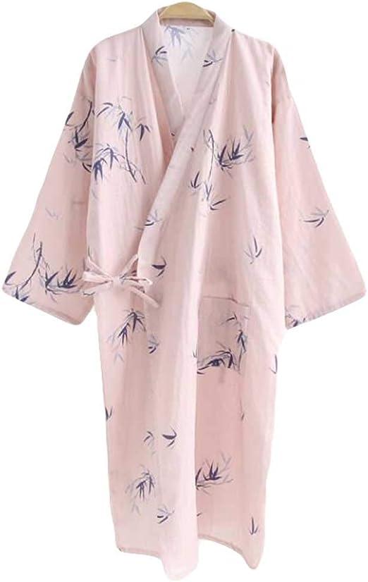 Panda Legends Kimono de bambú Rosa Pijamas Bata Mujer Algodón Largo Khan Steam SPA Use Yukata: Amazon.es: Hogar