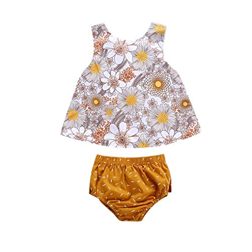 Infant Baby Girl Clothes Wildflowers Cross Vest Ruffled Leaf Short Pants (Yellow, 18-24 Month)
