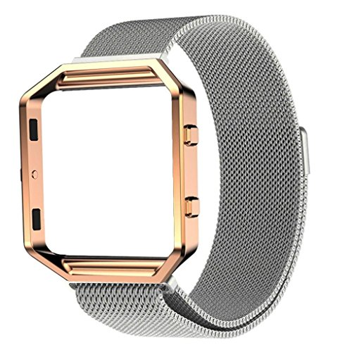 482497a1eed1 HP95(TM) for Fitbit Blaze Accessory Band Replacement Milanese Magnetic  Stainless Steel Watch Band for Fitbit Blaze + Rose Gold Metal Frame (Sliver)