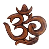 NOVICA Hand Carved Suar Wood Relief Wall Sculpture 'Sacred Om'