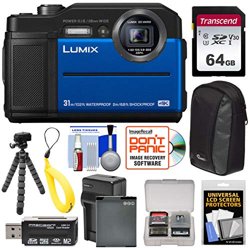 Panasonic Lumix DC-TS7 4K Tough Shock & Waterproof Digital Camera (Blue) with 64GB Card + Battery & Charger + Case + Float Strap + Tripod Kit