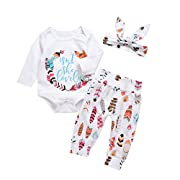 3Pcs Baby Boy Girls Print Long Sleeve Letters Romper+Leaves Pant+Bunny Headband Winter Outfit (0-3Months, White)
