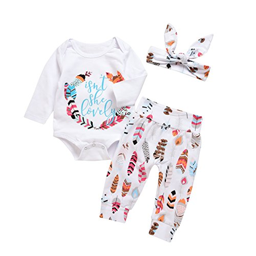 3Pcs Baby Boy Girls Print Long Sleeve Letters Romper+Leaves Pant+Bunny Headband Winter Outfit (6-12Months, White) - Leaf Print Pant Set