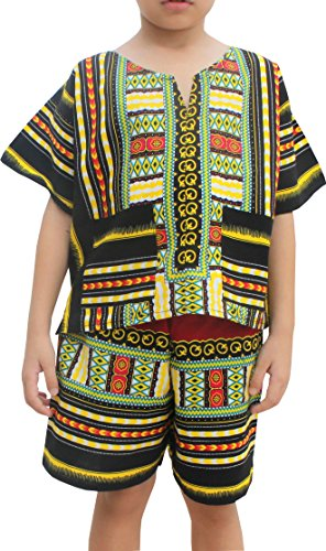 Raan Pah Muang Childrens Unisex Afrikan Dashiki Shirt Shorts Set Patch Cotton, 1-3 Years, Black-Green