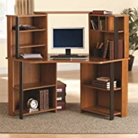 Corner Work Station, Inspire Cherry/Black Finish, Office Furniture, Office Desk, Shelving, Computer Desk, Composite Wood Construction, Bundle with Expert Guide for Better Life