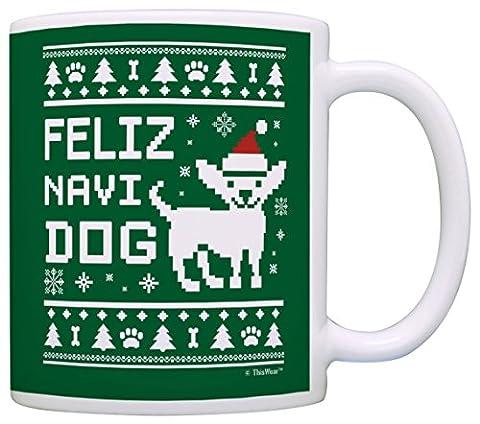 Funny Christmas Dog Mug Feliz Navidog Navidad Ugly Sweater Themed Gift Coffee Mug Tea Cup Green (Themed Sweaters)