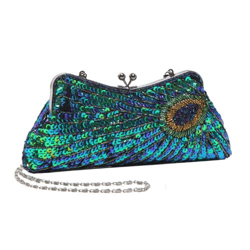 MG Collection Laurel Beaded Sequined Peacock Purse, Green, One Size