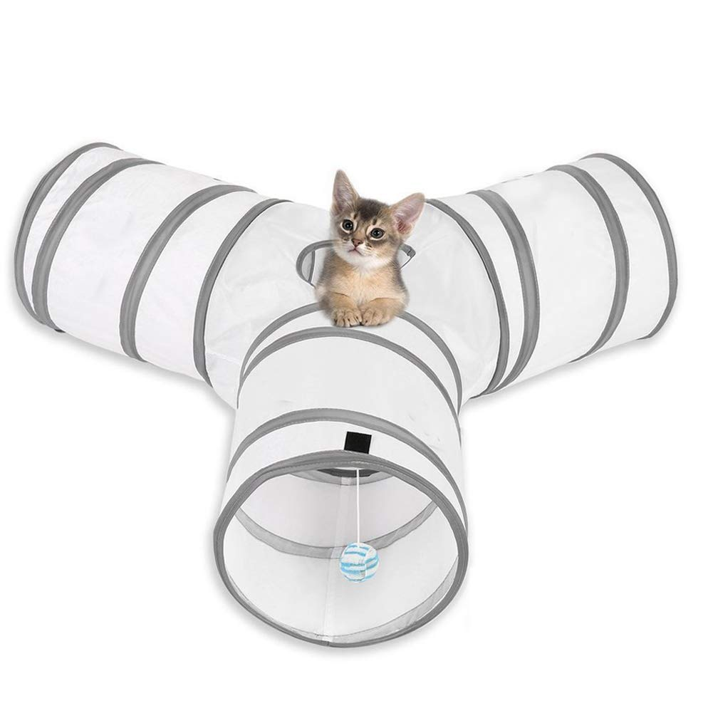 MFEI Cat Play Tunnel, Pet Tunnel 3 Way Crinkle Collapsible Tube Toy Tunnel for Cats Rabbits, Dogs, pets Father\'s Day Gift for His Pet
