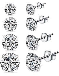 Sterling Silver Studs Earrings, 4-6 Pairs, Round Clear Cubic Zirconia Stud Earrings for Sensitive Ears priercing