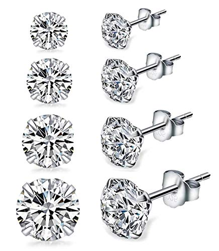(Sterling Silver Studs Earrings, 4 Pairs, Round Clear Cubic Zirconia 18K White Gold-Plated Hypoallergenic Tiny Earrings Sets for Women Girls, Fashion Earrings for Sensitive Ears priercing (3, 4, 5,6mm))