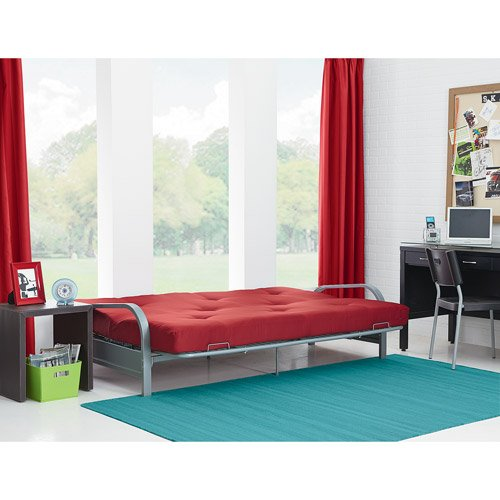 Mainstays Metal Arm Futon with 6'' Mattress - Ruby Red - Home Furniture - Bedroom - Sofa-sleeper - Economical Design - Metal Arm Futon - Contains 50 Percent or More Pre-consumer Recycled Content - 1-year Manufacturer's Warranty