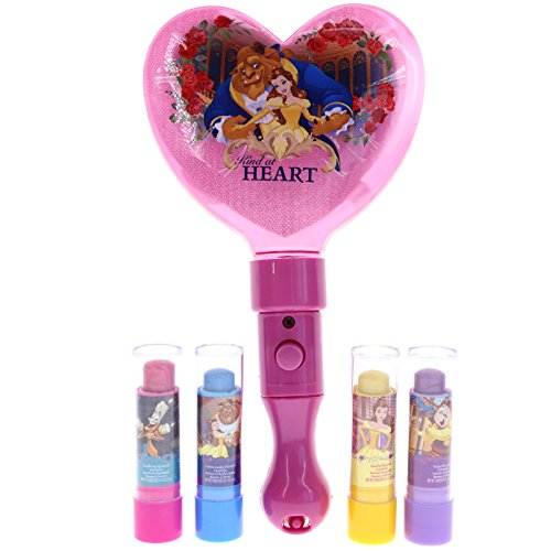 Disney Princess Beauty & the Beast Light Up Mirror with 4 Lip Balm in Gift Box For Girls (+3 years) | Girls Cosmetics Set