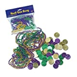 Mardi Gras Booty Includes: 12 - Asstd GD/G/PL Party Beads, (50 - Asstd GD/G/PL Plastic Coins) Party Accessory  (1 co
