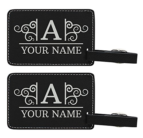 Personalized Luggage Tags Custom Initial & Name Personalized Gifts for Travelers Personalized 2-pack Laser Engraved Leather Luggage Tags Black by Personalized Gifts (Image #5)