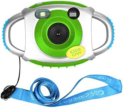 Kids Camera for boys girls cam for kids Creative Lightweight Digital Camera for Kids with Soft Silicone Protective Shell (Green)