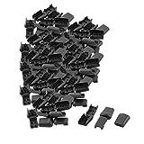 uxcell Plastic Sliding Rope String Drawstring Stopper Fastener Cord Lock 100pcs Black