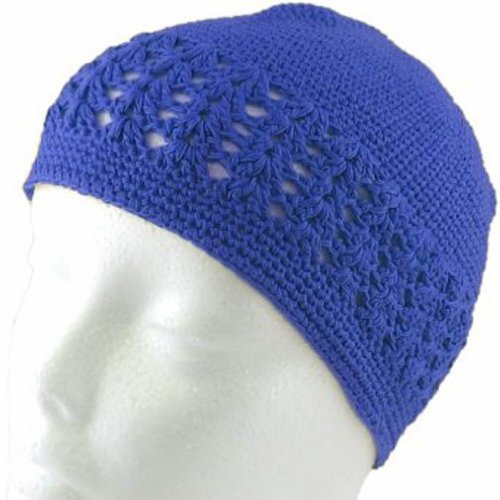 Knit Kufi Hat - Koopy Cap - Crochet Beanie (Royal Blue)