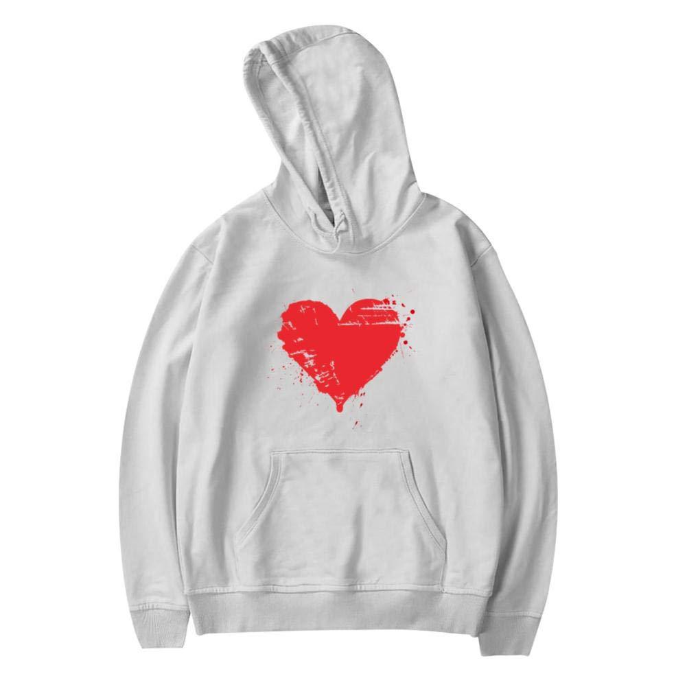 Youth Hoodie Love Heart Long Sleeve Fleece Pullover Hoody Sweatshirt
