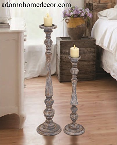 Distressed Floor Candle Holders Set Wood Tall Standing Amazon