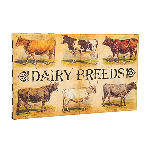 Dairy Cow Breeds Vintage 20 x 12 Inch Canvas Hanging Wall Plaque Sign