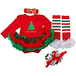 Slowera Baby Girls Christmas Outfits Clothes Red Green Trees L:9-12Months
