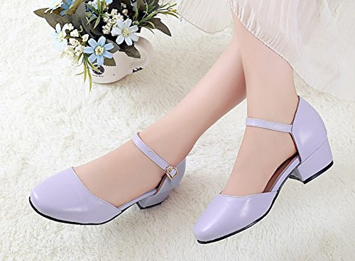 Aisun Womens Comfort Closed Toe Dress Buckle Chunky Low Heels Sandals Shoes With Ankle Straps Purple MYMjE3IxR