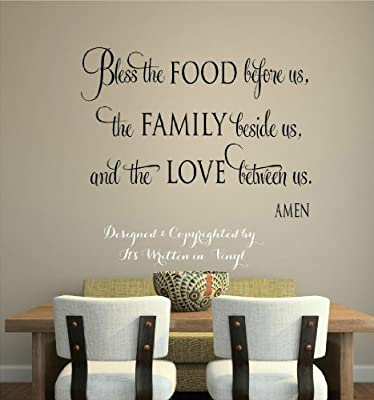 Dailinming PVC Wall Stickers Bless the food Vinyl lettering wall decal words home kitchen art Wall Stickers faith quote 58X43CM