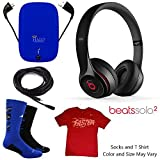 Beats By Dr. Dre Solo2 Wireless Headphones Sports Bundle w/ PowerBank, Auxiliary Cable (Black)