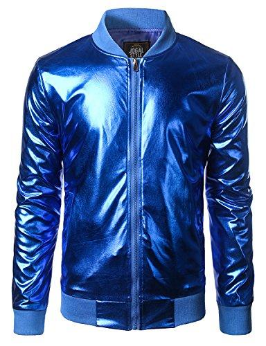 342762b81ea JOGAL Mens Metallic Nightclub Styles Zip up Varsity Baseball Bomber Jacket  at Amazon Men s Clothing store