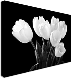 Wallfillers large black and white canvas prints of lily flowers tulip darkness black white garden floral flower canvas wall art print 12x16 inches mightylinksfo