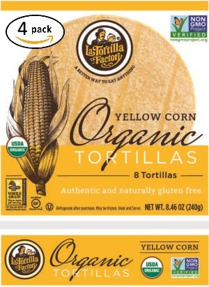 La Tortilla Factory Yellow Corn Organic Tortillas 4 Pack (32 Tortillas) by La Tortilla Factory