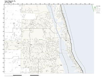 Vero Beach Florida Map.Amazon Com Zip Code Wall Map Of Vero Beach Fl Zip Code Map