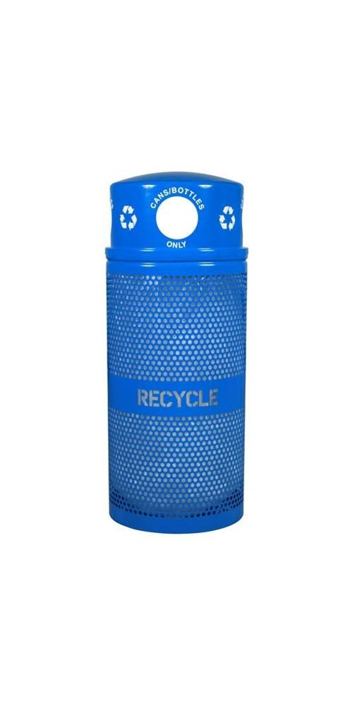 Ex-Cell Kaiser RC-34R DM CANS RBL Landscape Series Outdoor Recycling Receptacle, 34 Gallon Capacity, 18'' Diameter x 44'' Height, Blue