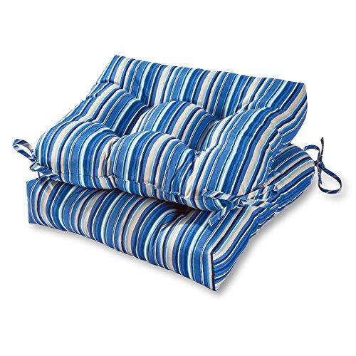 Greendale Home Fashions 20-inch Outdoor Chair Cushion in Coastal Stripe (set of 2), Sapphire