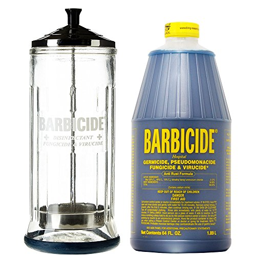 (King Research Barbicide Disinfecting Jar Large 37oz + Disinfectant 64oz)