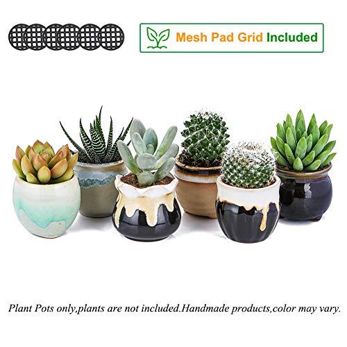 2.5 Inch Ceramic Planters,Flowing Glaze Succulent Planters Cactus Flower Plant Pot/Container Mini Succulent Plant Pots Black White Base Serial 6pcs in Set by Jomass (Image #1)