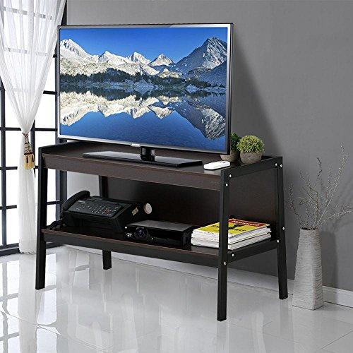 Topeakmart 45″ Ladder TV Stand Black Metal Legs 2 Tier Media Storage Shelf Home Entertainment Center Furniture, Espresso
