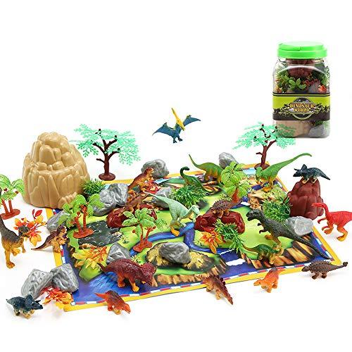 GRACEON Jurassic Century Simulation Plant Dinosaur Model | Plastic Dinosaur Toy 50 Piece Set ()