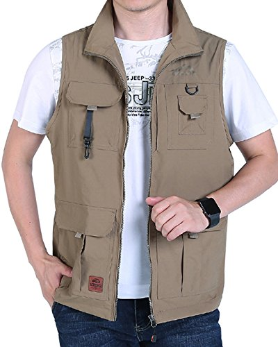 Outerwear Khaki - Gihuo Men's Casual Outdoor Stand Collar Lightweight Quick Dry Travel Vest Outerwear (Khaki#2, XX-Large)
