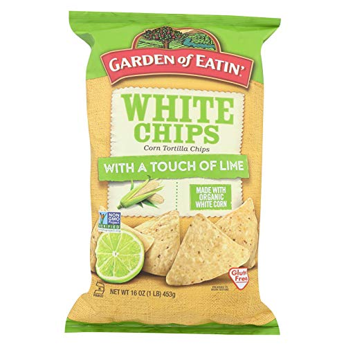 GARDEN OF EATIN', CHIPS, OG3, WHT CRN, LIME, Pack of 12, Size 16 OZ - No Artificial Ingredients Gluten Free Kosher 70%+ Organic