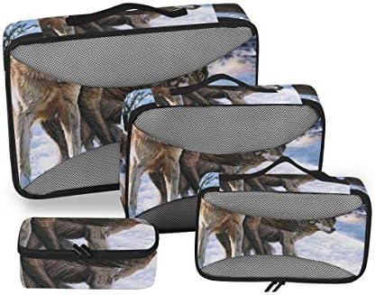 トラベル ポーチ 旅行用 収納ケース 4点セット トラベルポーチセット アレンジケース スーツケース整理 オオカミ 収納ポーチ 大容量 軽量 衣類 トイレタリーバッグ インナーバッグ