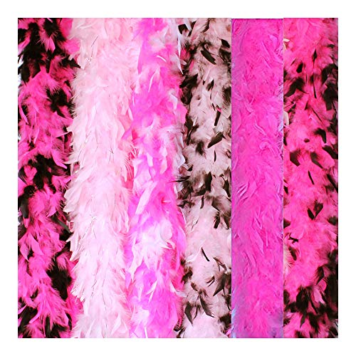 Cynthia's Feathers 6 Pieces 45 Gram Assorted Colorful Feathers Boas for Dancing Wedding Dress Up Halloween Costume Decoration (Pink -