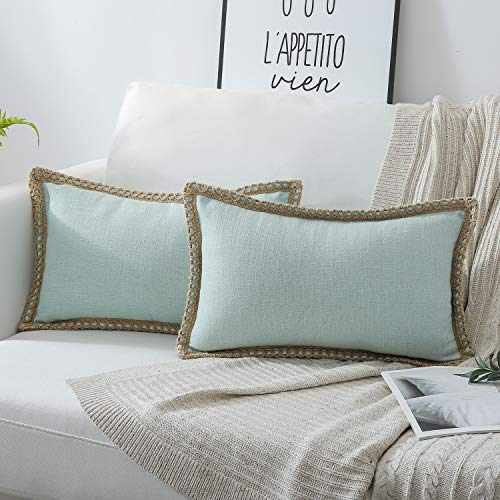 Phantoscope Pack of 2 Farmhouse Burlap Linen Trimmed Tailored Edges Throw Pillow Case Cushion Covers Light Turquoise Light Turquoise 12