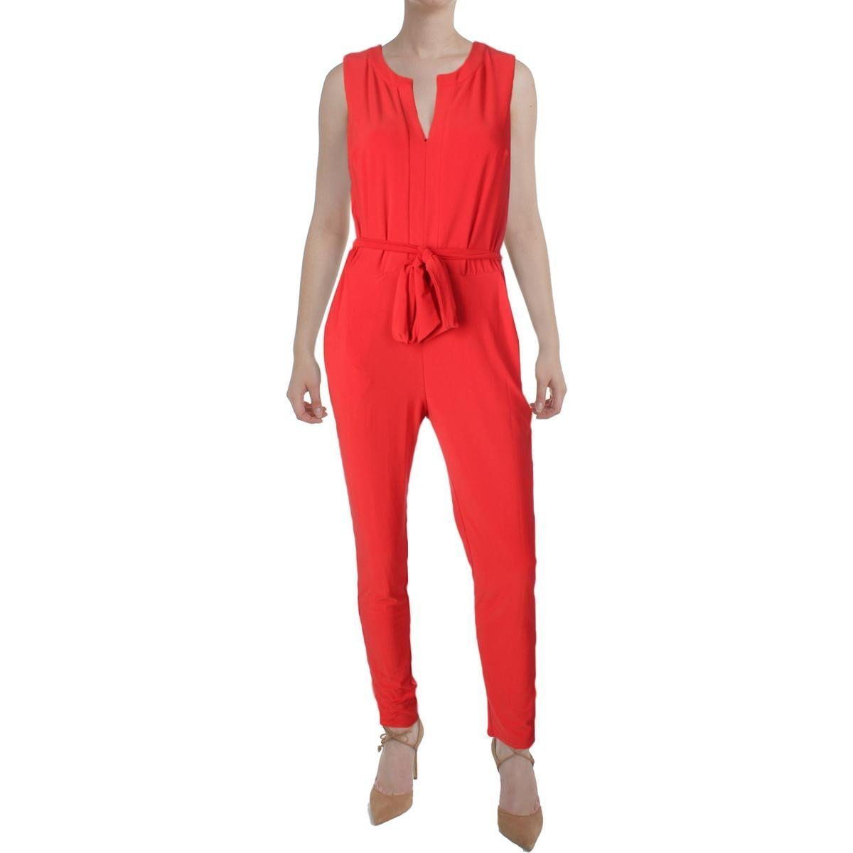 Lauren Ralph Lauren Womens Matte Jersey Split Neck Jumpsuit Red S