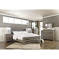 Zerlien Casual Wood Warm Gray Color Bed Room Set, King Poster Bed, Dresser, Mirror And Nightstand